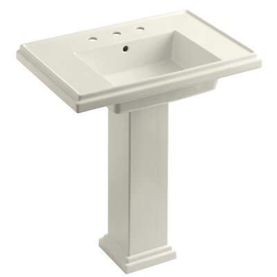 Tresham 30 Pedestal Bathroom Sink with Overflow Finish: Biscuit, Faucet Hole Style: Single