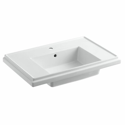 Tresham 30 Pedestal Bathroom Sink with Overflow Finish: White, Faucet Hole Style: 8 Widespread