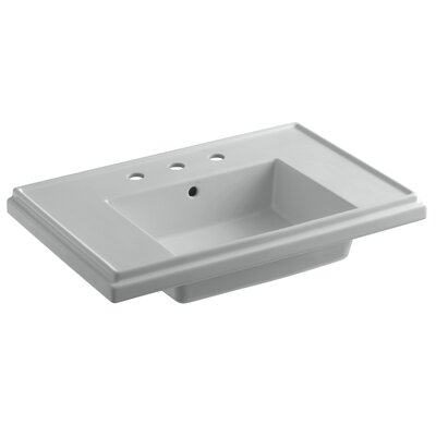 Tresham� Ceramic 30 Pedestal Bathroom Sink with Overflow Finish: Ice Grey, Faucet Hole Style: 8 Widespread