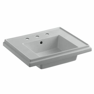 Tresham� Ceramic 24 Pedestal Bathroom Sink with Overflow Finish: Ice Grey, Faucet Hole Style: 8 Widespread