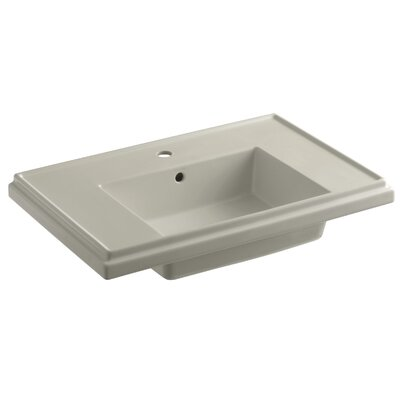 Tresham� Ceramic 30 Pedestal Bathroom Sink with Overflow Finish: Sandbar, Faucet Hole Style: 8 Widespread