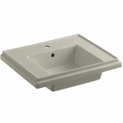 Tresham� Ceramic 24 Pedestal Bathroom Sink with Overflow Finish: Sandbar, Faucet Hole Style: Single
