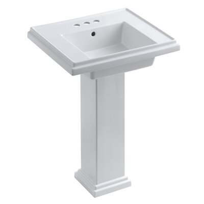 Tresham� Ceramic 24 Pedestal Bathroom Sink with Overflow Finish: White, Faucet Hole Style: 8 Widespread
