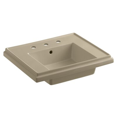 Tresham� Ceramic 24 Pedestal Bathroom Sink with Overflow Finish: Mexican Sand, Faucet Hole Style: 4 Centerset