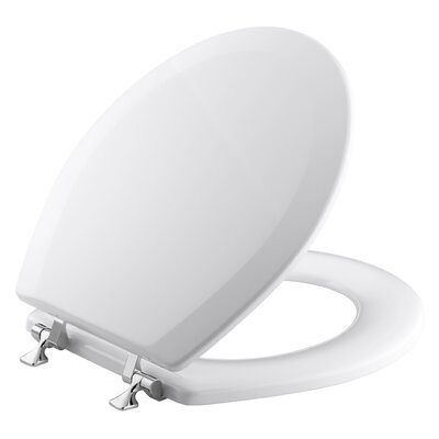 Triko Round-Front Toilet Seat with Polished Chrome Hinges Finish: White