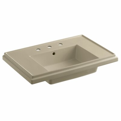 Tresham 30 Pedestal Bathroom Sink with Overflow Finish: Mexican Sand, Faucet Hole Style: 8 Widespread