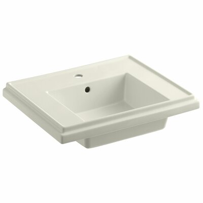 Tresham� Ceramic 24 Pedestal Bathroom Sink with Overflow Finish: Biscuit, Faucet Hole Style: 4 Centerset