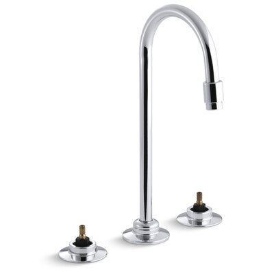 Triton Widespread Commercial Bathroom Sink Faucet with Flexible Connections and Gooseneck Spout, Requires Handles