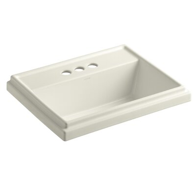 Tresham� Ceramic Rectangular Drop-In Bathroom Sink with Overflow Finish: Biscuit, Faucet Hole Style: 8 Widespread