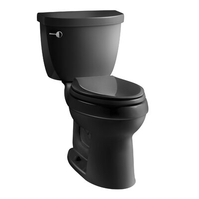 Cimarron Comfort Height Two-Piece Elongated 1.28 GPF Toilet with Aquapiston Flush Technology and Left-Hand Trip Lever Finish: Black Black