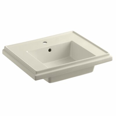 Tresham� Ceramic 24 Pedestal Bathroom Sink with Overflow Finish: Almond, Faucet Hole Style: 4 Centerset