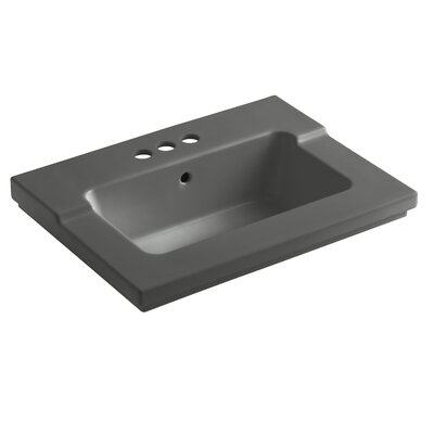 Tresham 25 Single Bathroom Vanity Top Finish: Thunder Grey, Faucet Hole Style: 4 Centerset