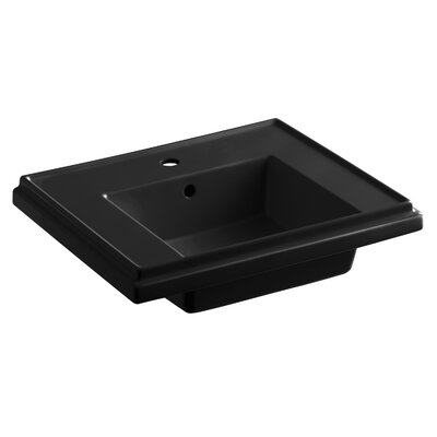 Tresham� Ceramic 24 Pedestal Bathroom Sink with Overflow Finish: Black Black, Faucet Hole Style: 8 Widespread