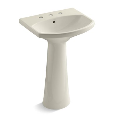 Cimarron Ceramic 23 Pedestal Bathroom Sink with Overflow Finish: Almond, Faucet Hole Style: 8 Widespread