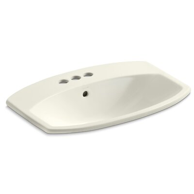 Cimarron Ceramic Rectangular Drop-In Bathroom Sink with Overflow Finish: Biscuit, Faucet Hole Style: Single