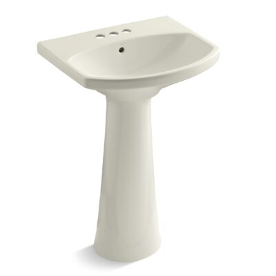 Cimarron 23 Pedestal Bathroom Sink Finish: Biscuit, Faucet Hole Style: 4 Centerset
