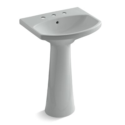 Cimarron Ceramic 23 Pedestal Bathroom Sink with Overflow Finish: Ice Grey, Faucet Hole Style: 8 Widespread