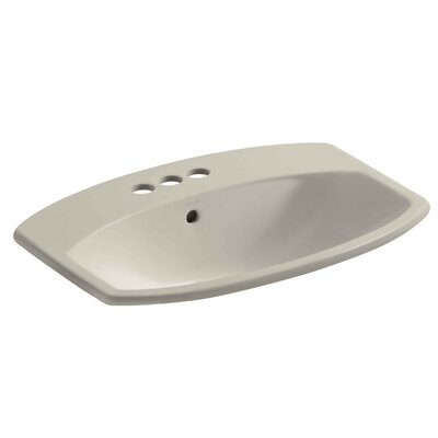 Cimarron Ceramic Rectangular Drop-In Bathroom Sink with Overflow Finish: Sandbar, Faucet Hole Style: Single