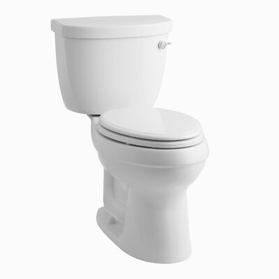 Cimarron Comfort Height Two-Piece Elongated 1.28 GPF Toilet with Aquapiston Flush Technology, Right-Hand Trip Lever and Tank Cover Locks Finish: White