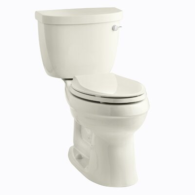 Cimarron Comfort Height Two-Piece Elongated 1.28 GPF Toilet with Aquapiston Flush Technology, Right-Hand Trip Lever and Tank Cover Locks Finish: Biscuit