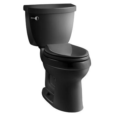 Cimarron Comfort Height Two-PieceToilet with Aquapiston Flush Technology and Left-Hand Trip Lever Finish: Black Black