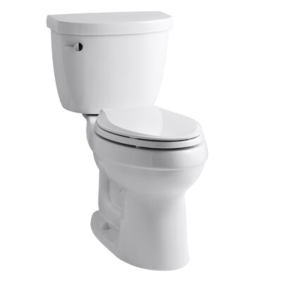 Cimarron Comfort Height Two-Piece Elongated 1.6 GPF Toilet with Aquapiston Flush Technology, Left-Hand Trip Lever and Tank Locks Finish: White
