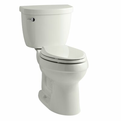 Cimarron Comfort Height Two-Piece Elongated 1.6 GPF Toilet with Aquapiston Flush Technology, Left-Hand Trip Lever and Tank Locks Finish: Dune