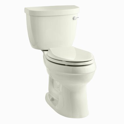 Cimarron Comfort Height Two-Piece Elongated 1.6 GPF Toilet with Aquapiston Flush Technology, Right-Hand Trip Lever and Tank Cover Locks Finish: Biscuit