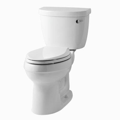 Cimarron Comfort Height Two-Piece Elongated 1.6 GPF Toilet with Aquapiston Flush Technology, Right-Hand Trip Lever and Tank Cover Locks Finish: White