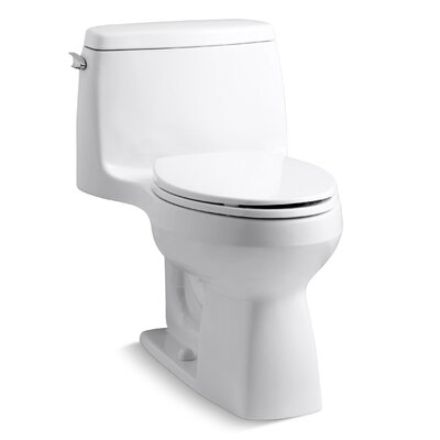 Santa Rosa Comfort Height One-Piece Compact Elongated 1.28 GPF Toilet with Aquapiston Flush Technology and Left-Hand Trip Lever Finish: White