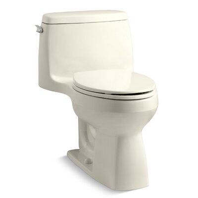 Santa Rosa Comfort Height One-Piece Compact Elongated 1.28 GPF Toilet with Aquapiston Flush Technology and Left-Hand Trip Lever Finish: Almond