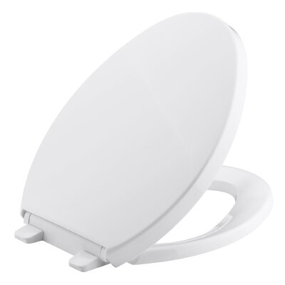 Saile Quiet-Close with Grip-Tightelongated Toilet Seat Finish: White