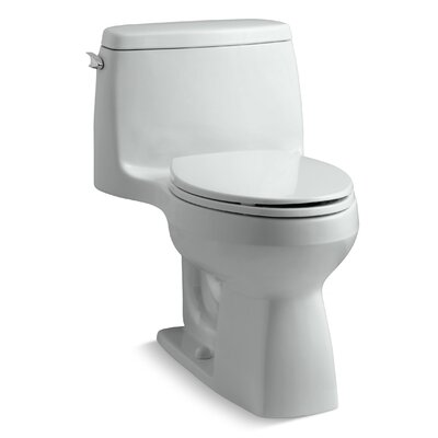 Santa Rosa Comfort Height One-Piece Compact Elongated 1.28 GPF Toilet with Aquapiston Flush Technology and Left-Hand Trip Lever Finish: Ice Grey