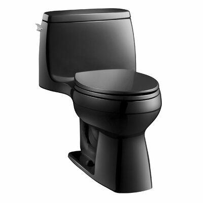 Santa Rosa Comfort Height One-Piece Compact Elongated 1.28 GPF Toilet with Aquapiston Flush Technology and Left-Hand Trip Lever Finish: Black Black