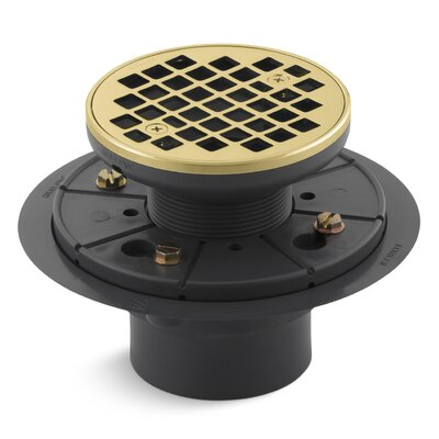 Round Design 3 Grid Shower Drain Finish: Vibrant Polished Brass