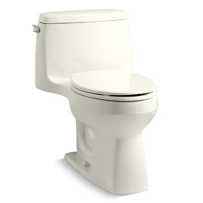 Santa Rosa Comfort Height One-Piece Compact Elongated 1.28 GPF Toilet with Aquapiston Flush Technology and Left-Hand Trip Lever Finish: Biscuit