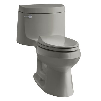 Cimarron Comfort Height One-Piece Elongated 1.28 GPF Toilet with Aquapiston Flush Technology and Left-Hand Trip Lever Finish: Cashmere