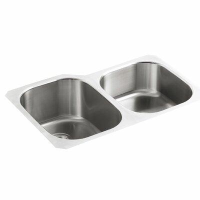 Undertone 31 x 20-1/8 x 9-1/2 Under-Mount Large/Medium Double-Bowl Kitchen Sink