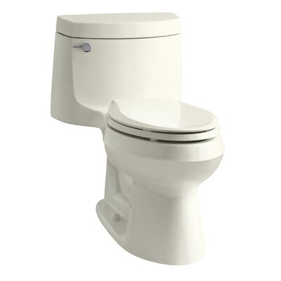 Cimarron Comfort Height One-Piece Elongated 1.28 GPF Toilet with Aquapiston Flush Technology and Left-Hand Trip Lever Finish: Biscuit