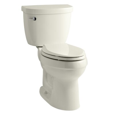 Cimarron Comfort Height Two-Piece Elongated 1.28 GPF Toilet with Aquapiston Flush Technology, Left-Hand Trip Lever and Tank Cover Locks Finish: Biscuit