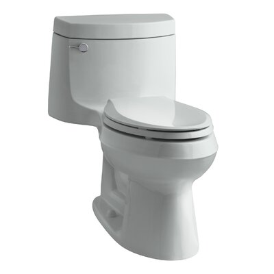Cimarron Comfort Height One-Piece Elongated 1.28 GPF Toilet with Aquapiston Flush Technology and Left-Hand Trip Lever Finish: Ice Grey