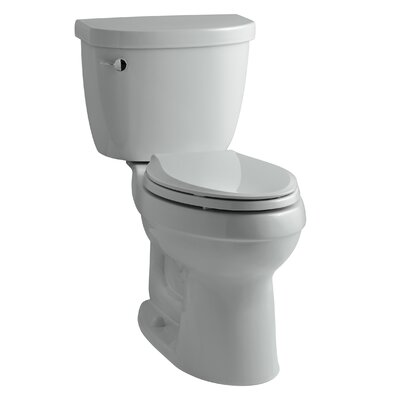 Cimarron Comfort Height Two-Piece Elongated 1.28 GPF Toilet with Aquapiston Flush Technology, Left-Hand Trip Lever and Tank Cover Locks Finish: Ice Grey