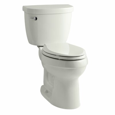 Cimarron Comfort Height Two-Piece Elongated 1.28 GPF Toilet with Aquapiston Flush Technology, Left-Hand Trip Lever and Tank Cover Locks Finish: Dune