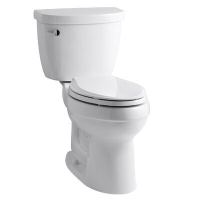 Cimarron Comfort Height Two-Piece Elongated 1.28 GPF Toilet with Aquapiston Flush Technology, Left-Hand Trip Lever and Tank Cover Locks Finish: White