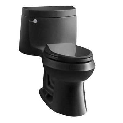Cimarron Comfort Height One-Piece Elongated 1.28 GPF Toilet with Aquapiston Flush Technology and Left-Hand Trip Lever Finish: Black Black