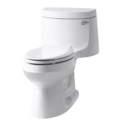 Cimarron Comfort Height One-Piece Elongated 1.28 GPF Toilet with Aquapiston Flush Technology and Right-Hand Trip Lever Finish: White