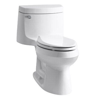 Cimarron Comfort Height One-Piece Elongated 1.28 GPF Toilet with Aquapiston Flush Technology and Left-Hand Trip Lever Finish: White