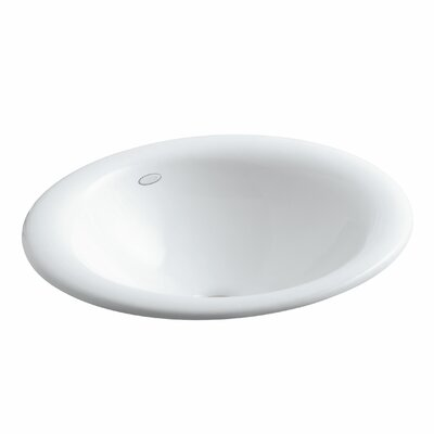 Iron Bell Oval Vessel Bathroom Sink Sink Finish: White