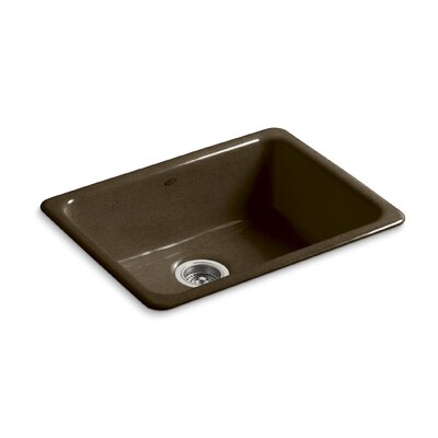 Iron/Tones 24-1/4 x 18-3/4 x 8-1/4 Top-Mount/Under-Mount Single-Bowl Kitchen Sink Finish: Black n Tan