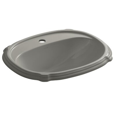 Portrait� Ceramic Oval Drop-In Bathroom Sink with Overflow Finish: Cashmere, Faucet Hole Style: 4 Centerset